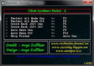 #Cheats Audition Ayodance Hacks PF ON OFF , Hack Score ON OFF , Auto Key ON OFF, Skip PIN 2nd v.6080 By : Arya Zulfikar