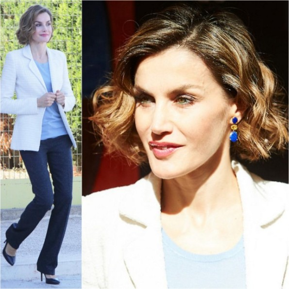 Queen Letizia's Felipe Varela jacket And Hugo Boss pants