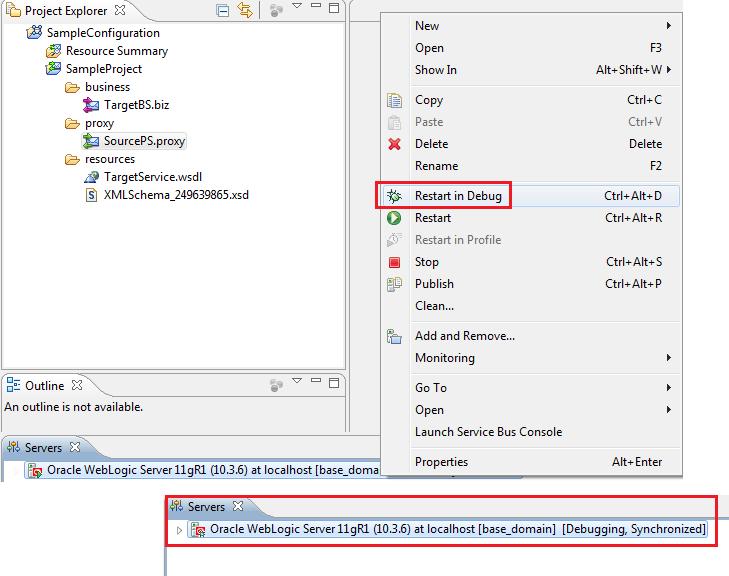 OSB Eclipse Debugger Start Server in Debug Mode