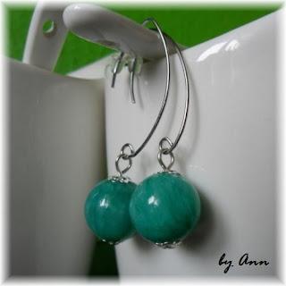 kolczyki marmurkowe zielono-niebieskie