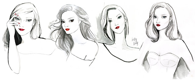 finished portraits of glamour girls for jewellry website