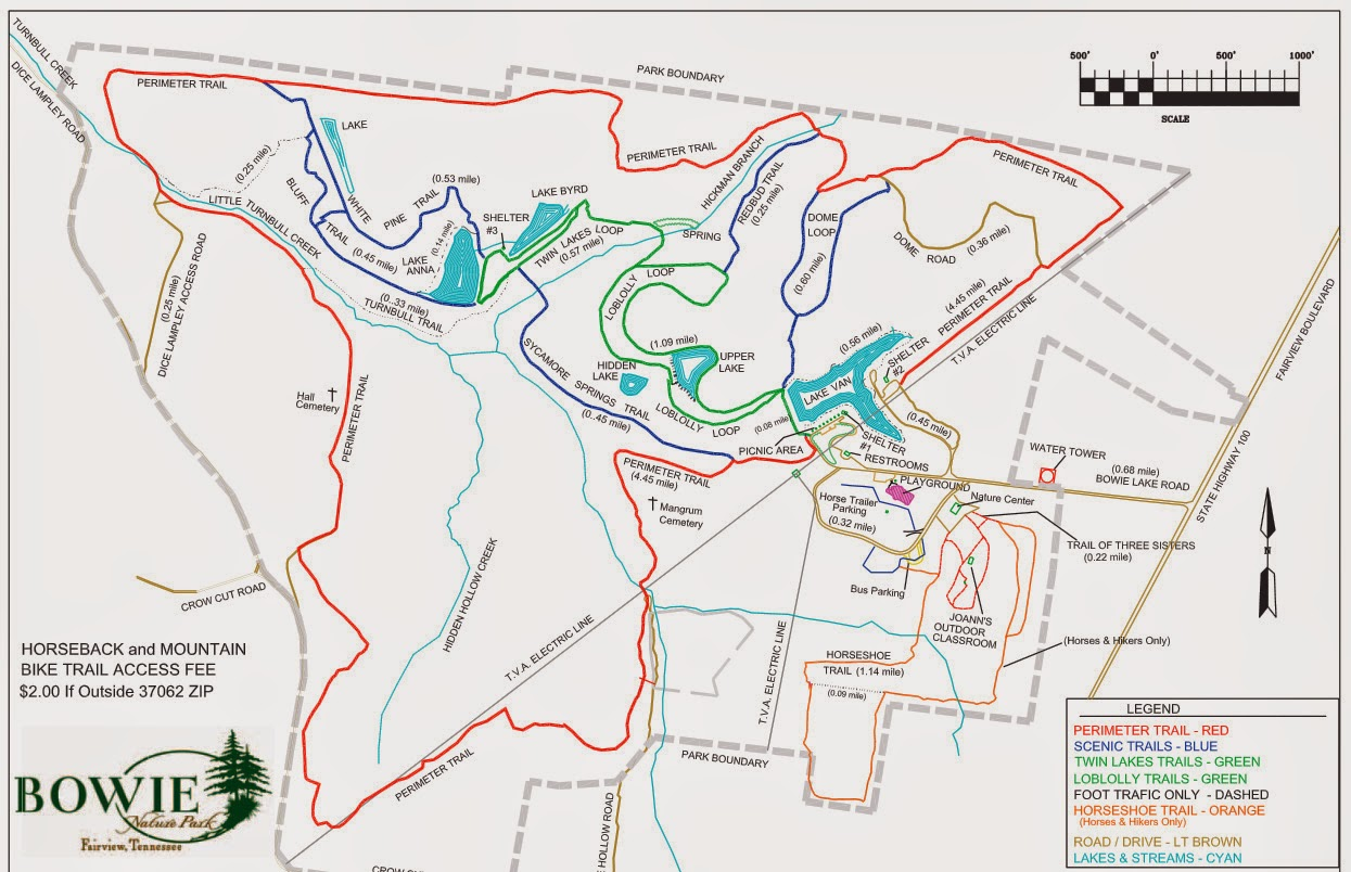 Bowie Nature Park trail map in Fairview, TN