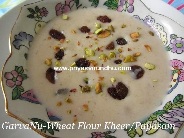 garvanu – wheat flour kheer [gujarati delight]/wheat flour paayasam/godhumai maavu paayasam