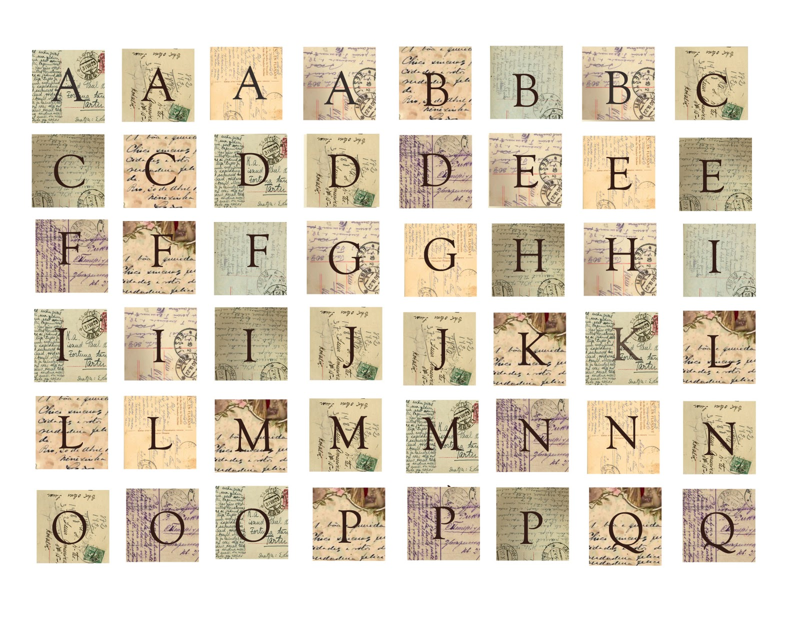 collage sheet girl how to make vintage french postcard With vintage scrabble letters