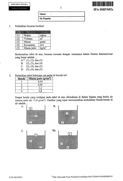 Soal UN IPA SMP Tahun 2013 dan Jawaban