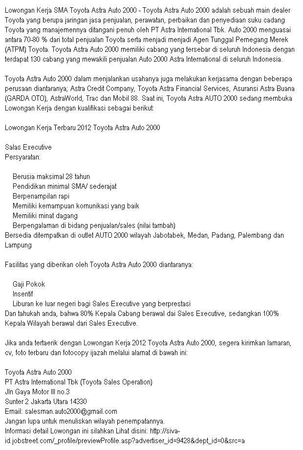 Lowongan Pekerjaan SMA Toyota Astra Auto 2000