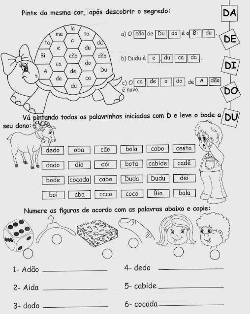 Atividades com a Letra D,alfabeto,alfabetização,anos iniciais, atividades para imprimir,letras,letra D,1º ano, ensino fundamental.