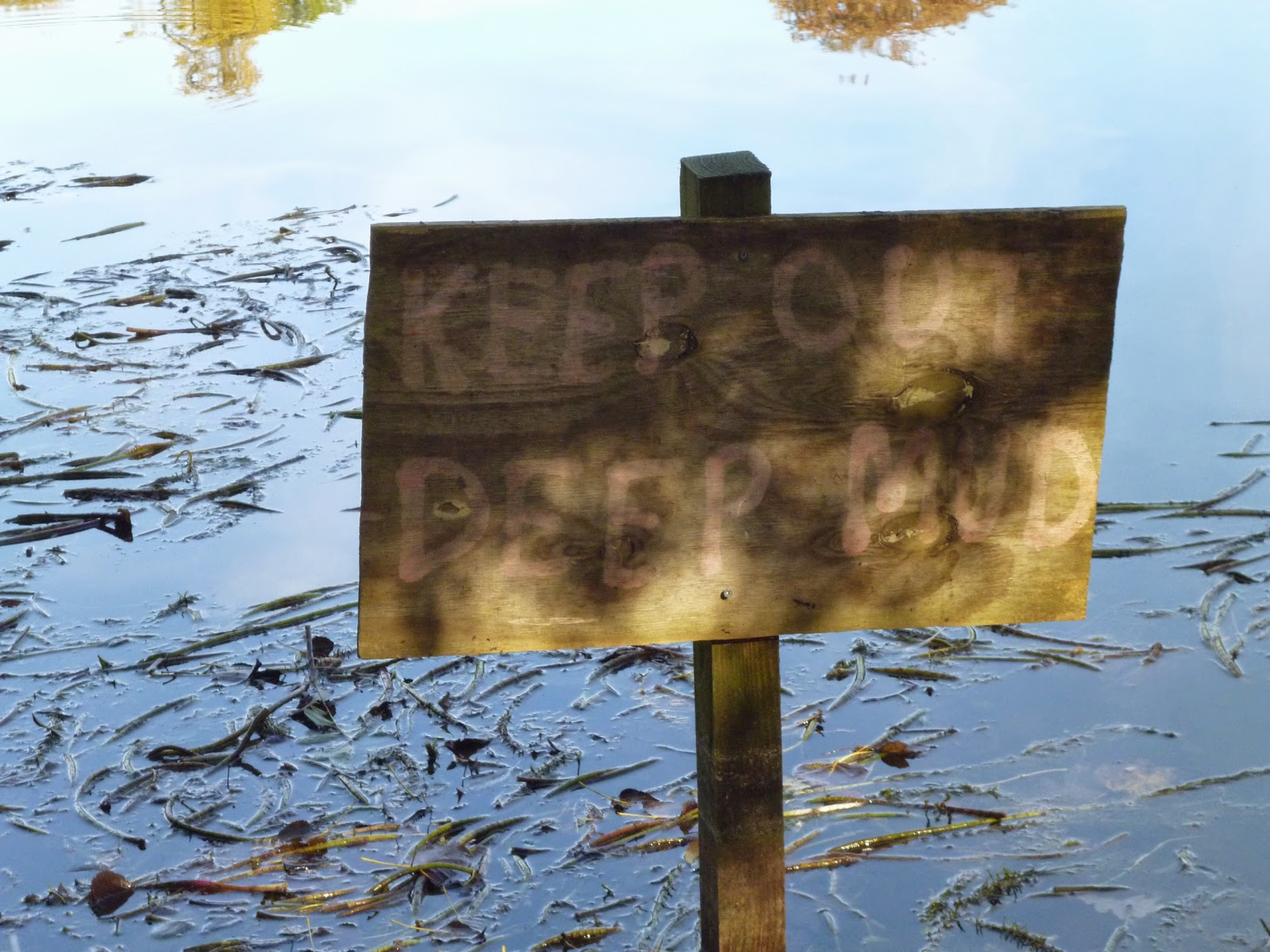 keep out deep mud sign lake
