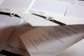 diamante buckle damask wedding invitation