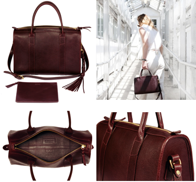 Lotuff Leather zipper satchel burgundy