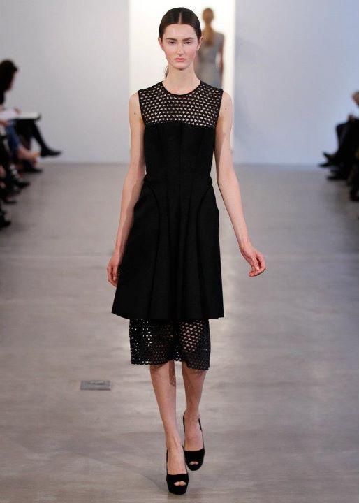 CK Black Lace pleated v neck dress
