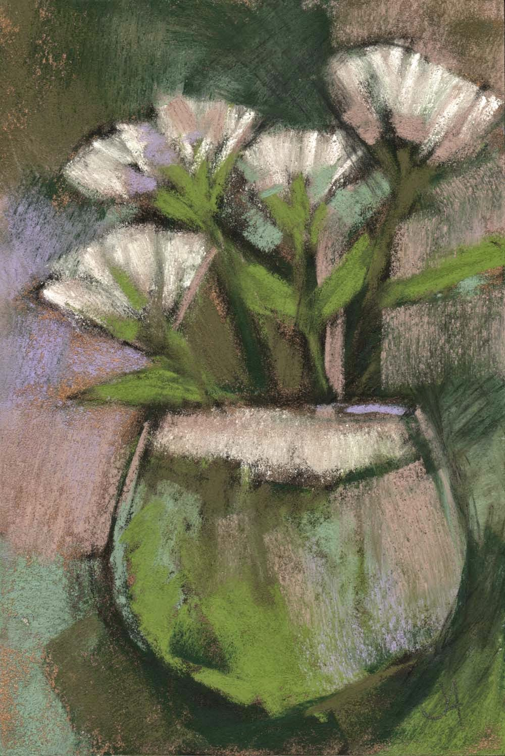 white flowers contemporary floral still life pastel drawing painting artist janine aykens