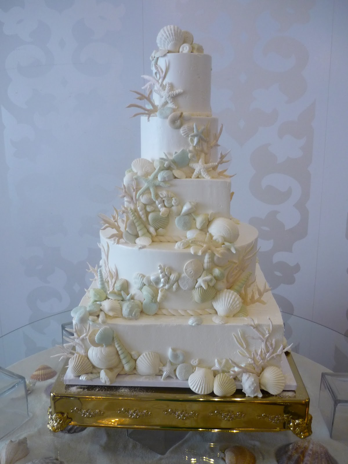 Square Beach Wedding Cake