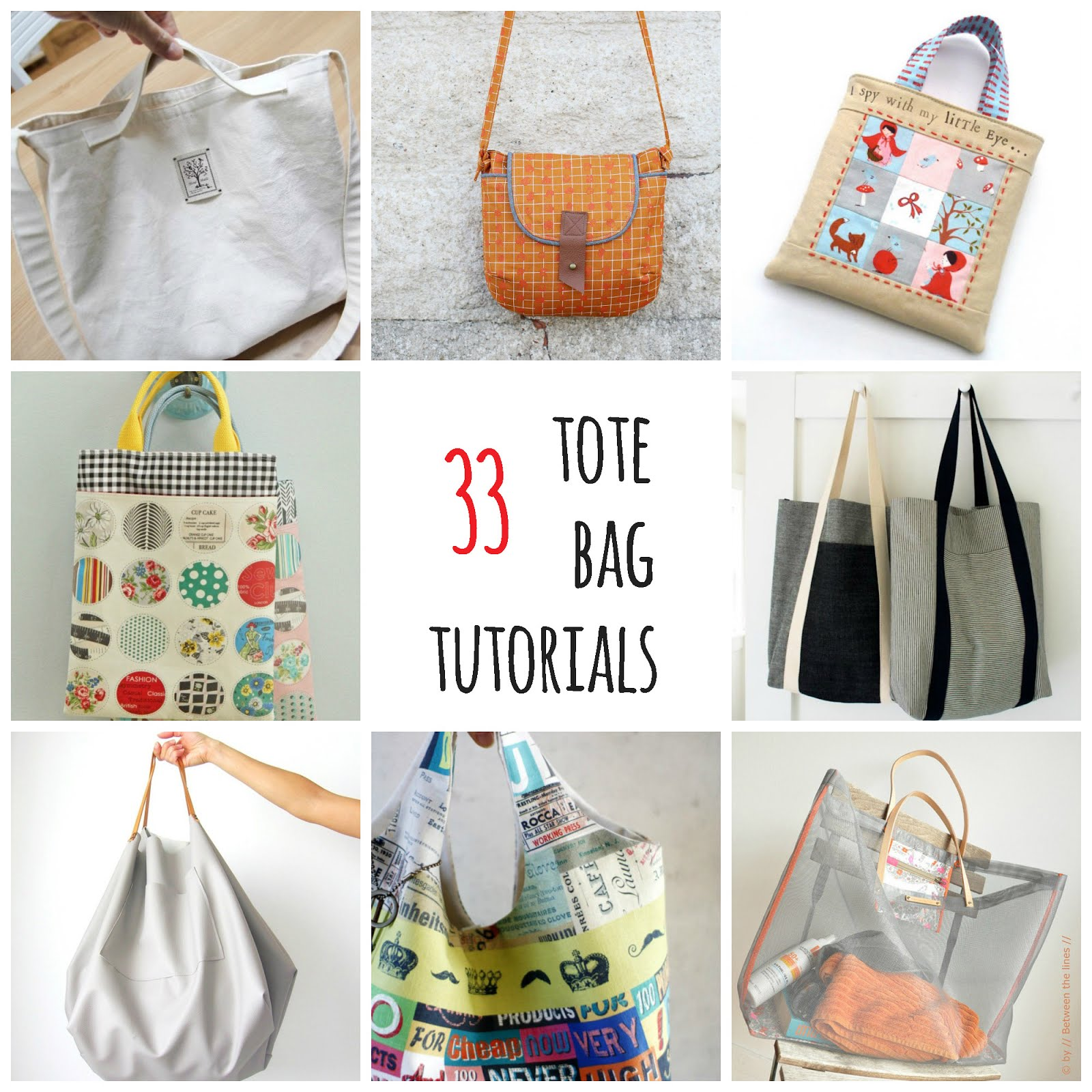 33 free tote bag tutorials