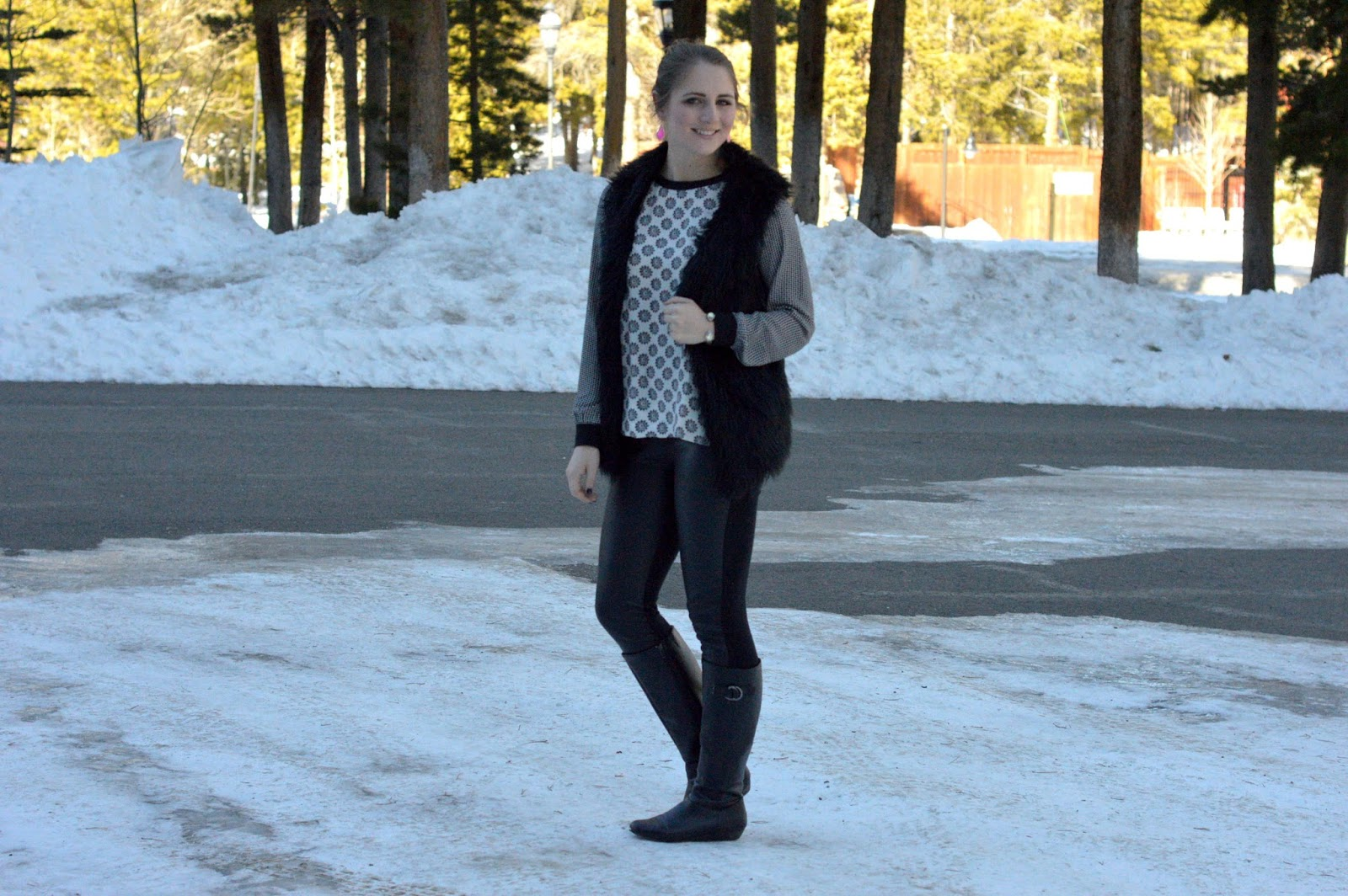 what to wear with a black faux fur vest