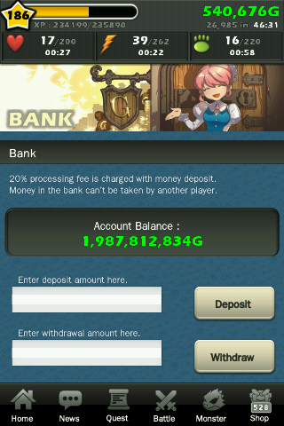 Bank allows you to keep your money safe from theives (other players Xp