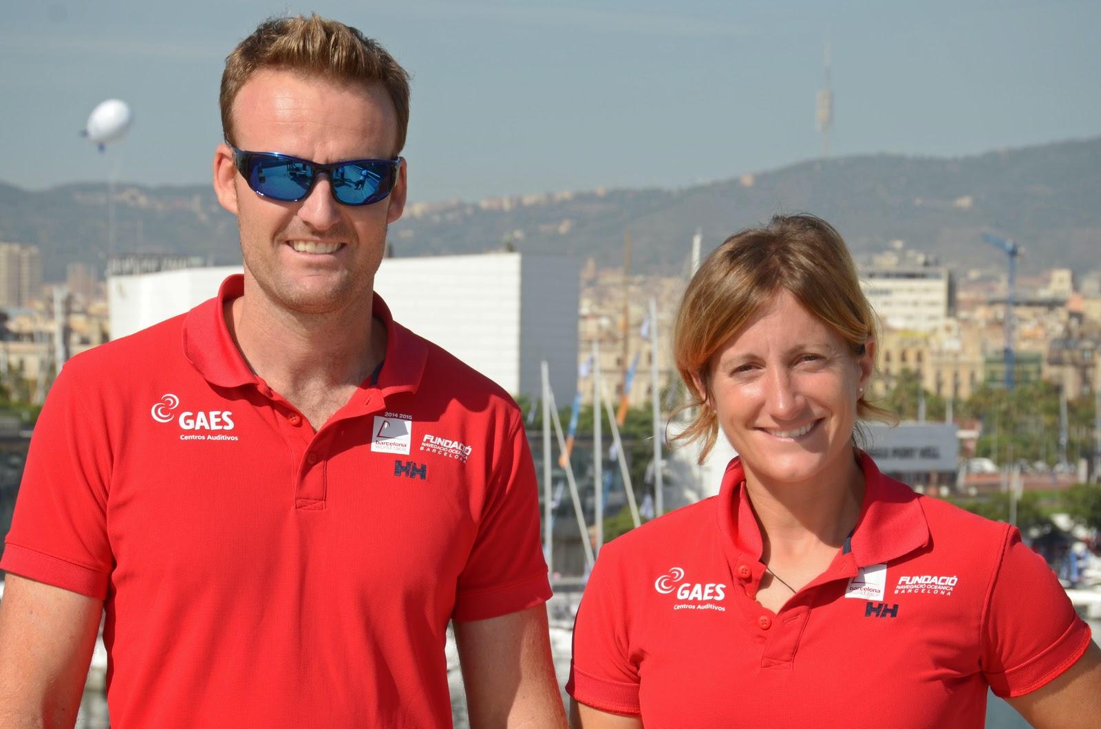 Anna Corbella et Gerard Marín au départ de la Barcelona World Race.
