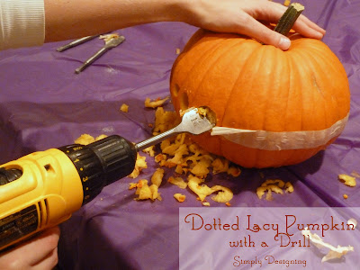 Carving a Pumpkin with a Drill to create a Dotted Pumpkin from Simply Designing #pumpkincarving #pumpkins #halloween