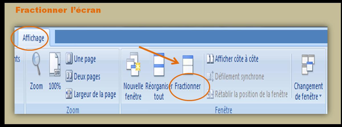 Comment fractionner un document Word pour travailler à deux endroits au même moment
