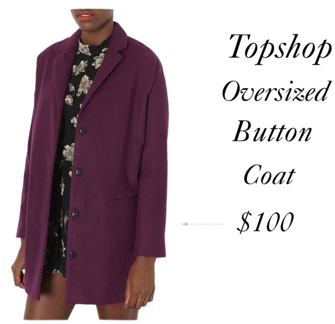 Topshop oversized snap button coat