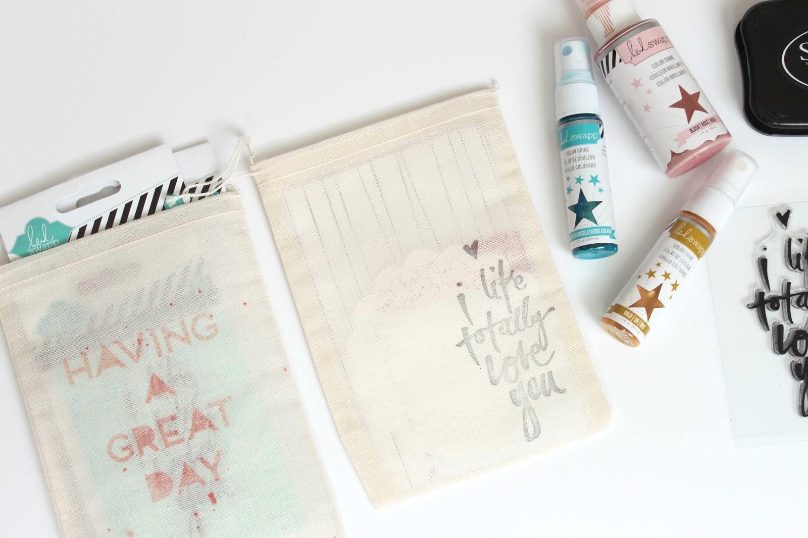 Stephanie Makes: Heidi Swapp: DIY Stenciled & Stamped Gift Bags