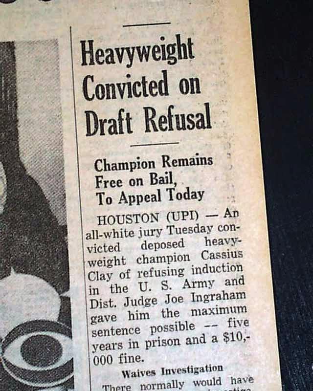 Muhammad Ali and his draft evasion...?