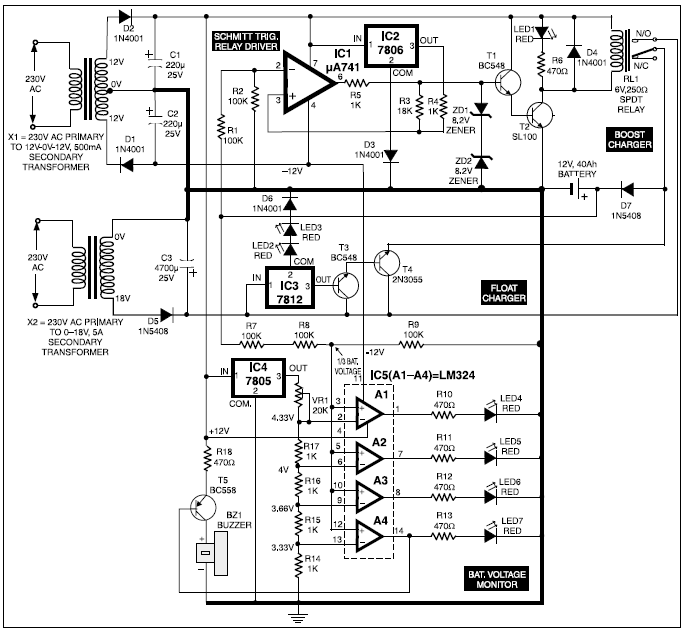 automatic battery charger circuit basic electronic project
