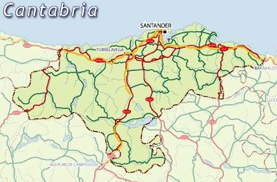Cantabria Mapa Ciudad de la Región