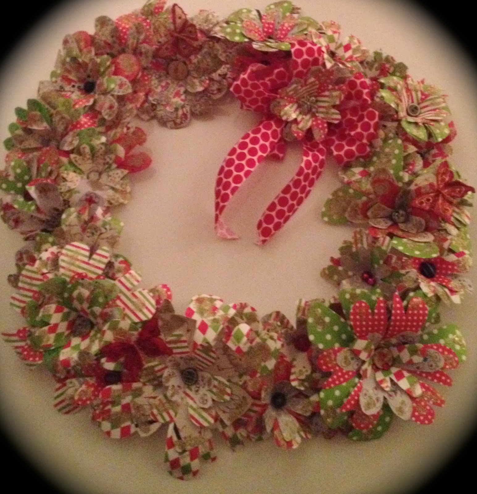 Rita Marie Art Finished Paper Flower Christmas Wreath