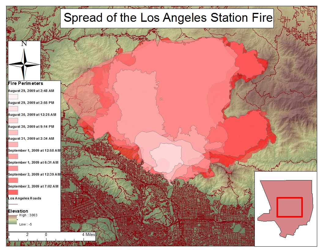 map 2 zoomed in map of the los angeles station fire with roads