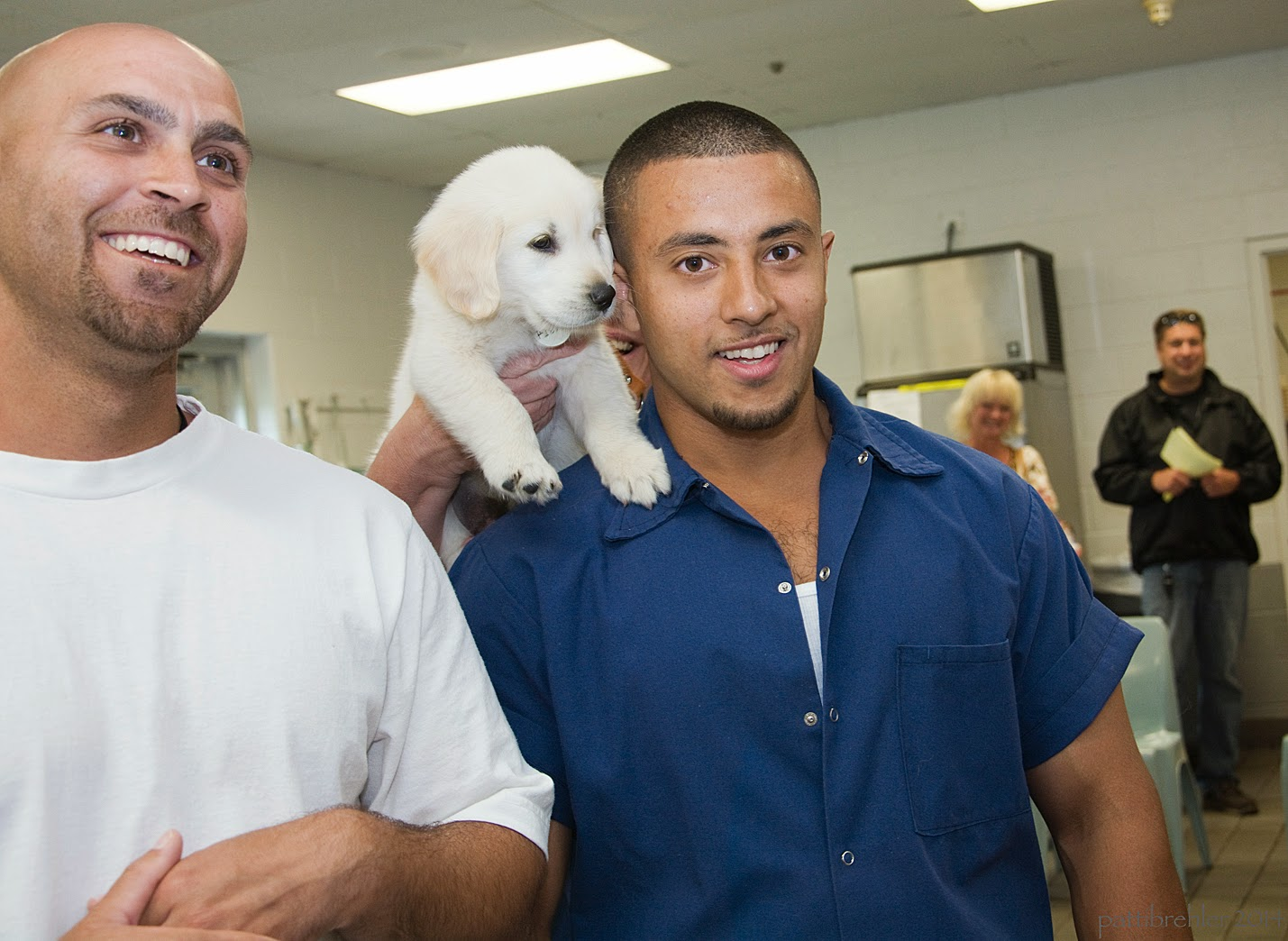 A bald man wearing a white t-shirt is standing on the left with a huge smile. Next to him is a man with a blue shirt on - the fuzzy puppy is being lifted over this man's right sholder. In the background is a woman and man standing and watching.