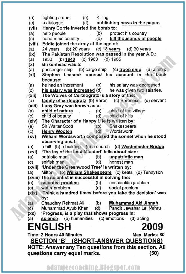 English-2009-past-year-paper-class-XI