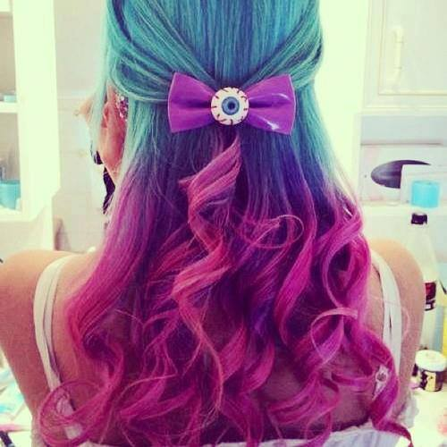 Blue and pink hair tumblr rare photo