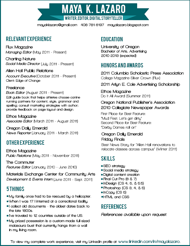 creating resume in indesign