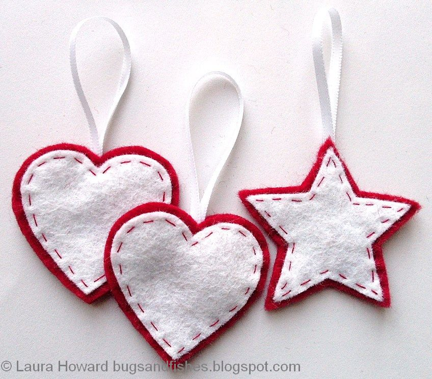Bugs and Fishes by Lupin: Felt Ornament How-To #1: Stars and Hearts