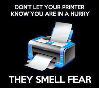 printer comic, printer funny, printer smell fear