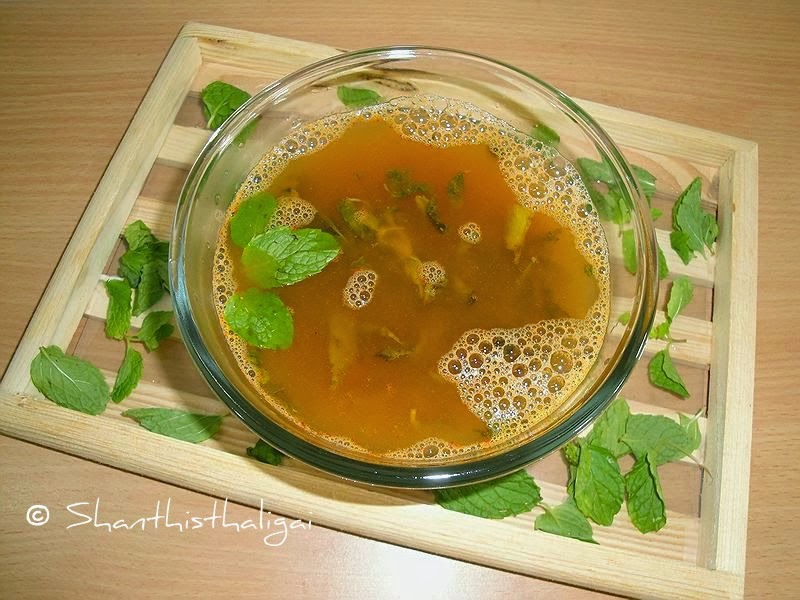 how to make mint rasam, pudina rasam, mint rasam