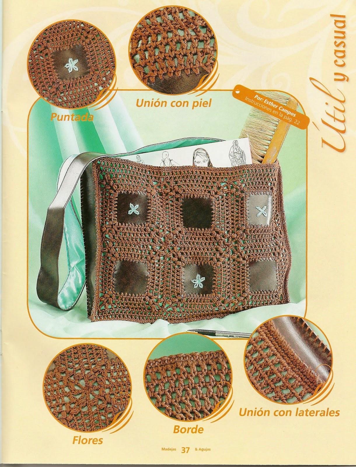 Como hacer bolsos con dos agujas revistas de crochet y - Como hacer bolsos con salvamanteles ...