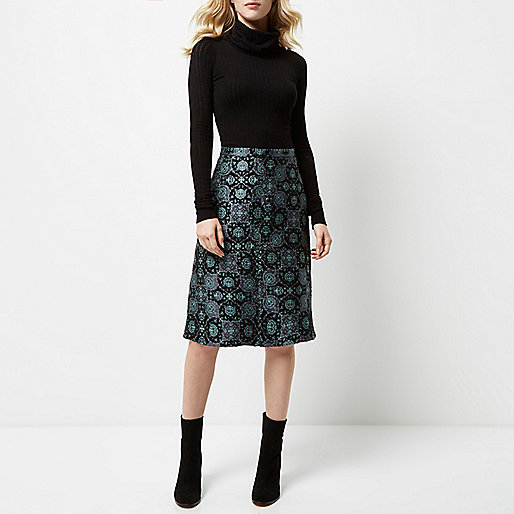 river island patterned skirt, river island jacquard skirt,