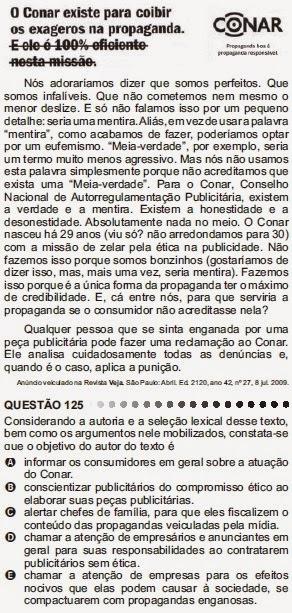 ANÁLISE - ENEM 2011 - QUESTÃO 125 - PROVA CINZA