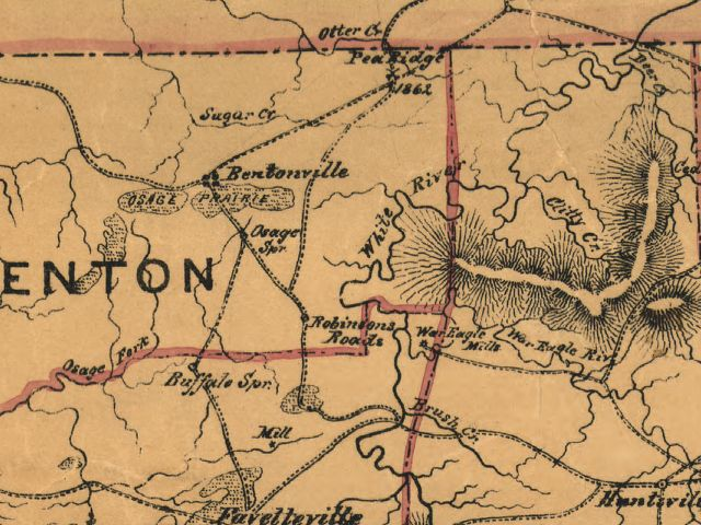 Arkansas In The Civil War Pea Ridge The Action Near - Bentonville ar on us map