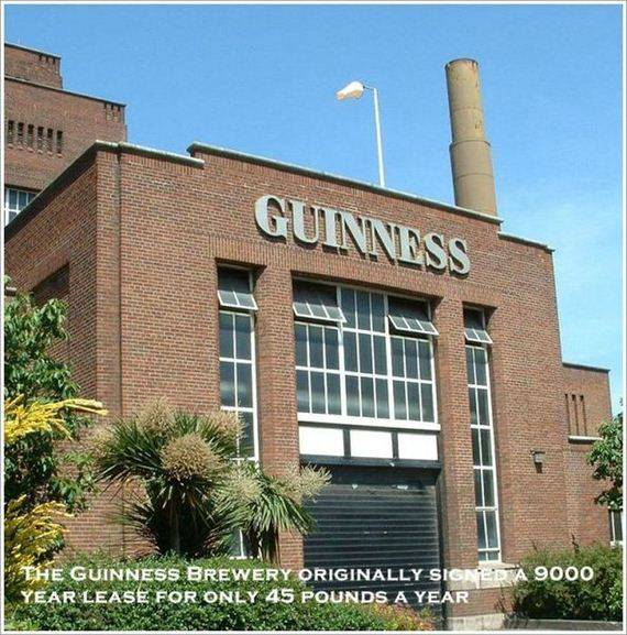 THE GUINNESS BREWERY ORIGINALLY SION ED A 9000 YEARS LEASE FOR ONLY 45 POUNDS A YEAR.