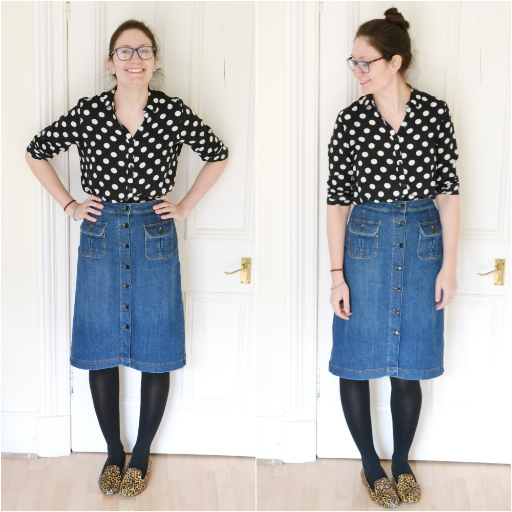 seventies style polka dot blouse H&M denim button M&S skirt leopard shoes slippers