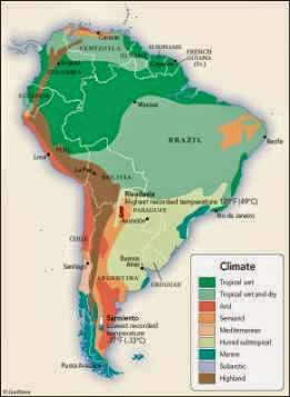 Climate map of Latin America showing South America climate zones.