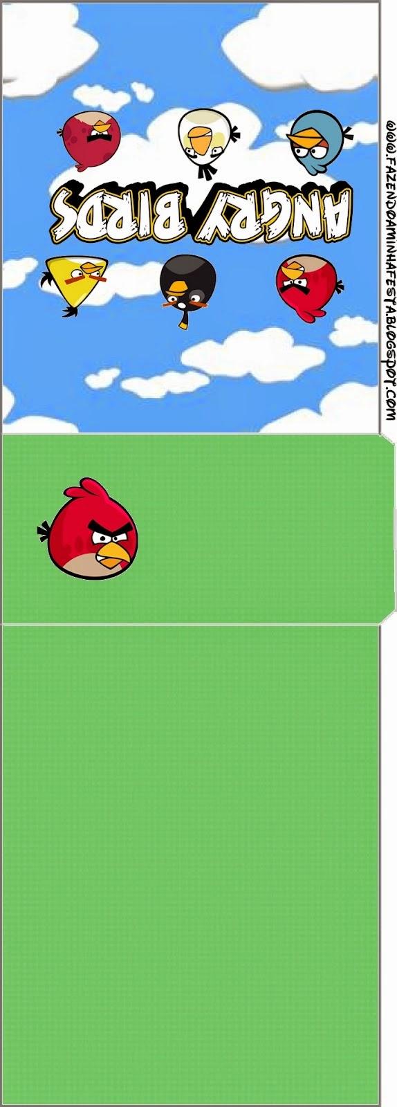 Etiqueta para Tic Tac de Angry birds con Nubes.