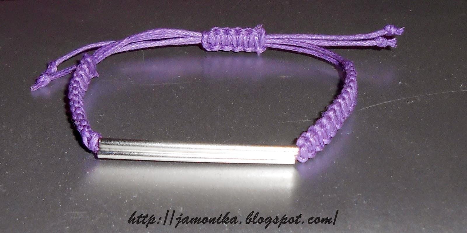 Liliowa bransoletka ze srebrną rurką