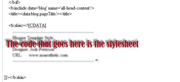 stylesheet code on blogger