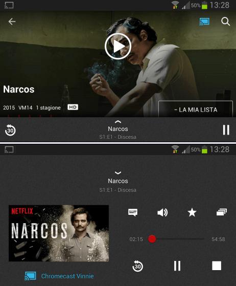 Controlli riproduzione Netflix trasmesso a TV da cellulare tablet con Chromecast