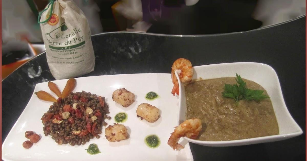 Cissou ou la cuisine du bonheur chaud froid de lentilles vertes du puy aux saint jacques et gambas - Du bonheur dans la cuisine saint herblain ...
