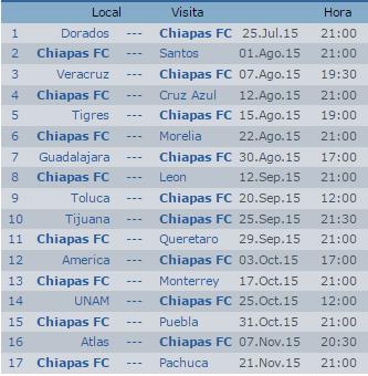 Calendario Jaguares Chiapas Apertura 2015 Futbol Mexicano